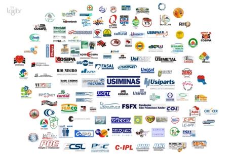 Usiminas e logos de todas as empresas da holding
